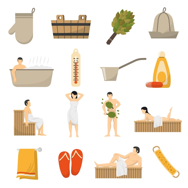 Bath sauna spa flat icons set Vecteur gratuit