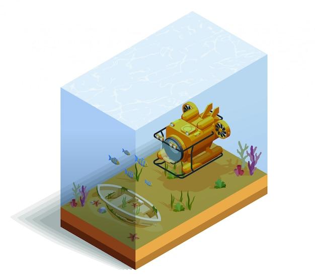 Bathyscaph sous-marin composition isométrique Vecteur gratuit