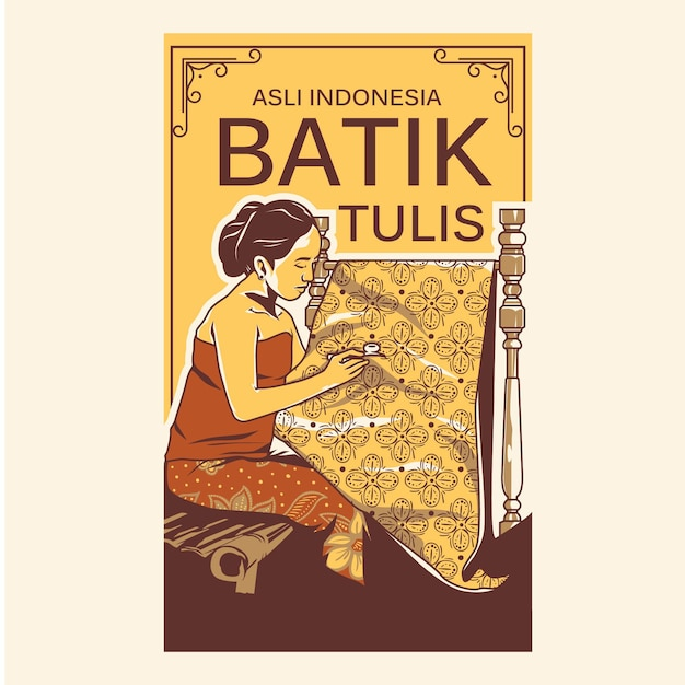 Batik tulis illustration Vecteur Premium
