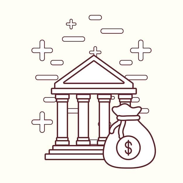 Bâtiment de la banque et conception de l'argent Vecteur Premium