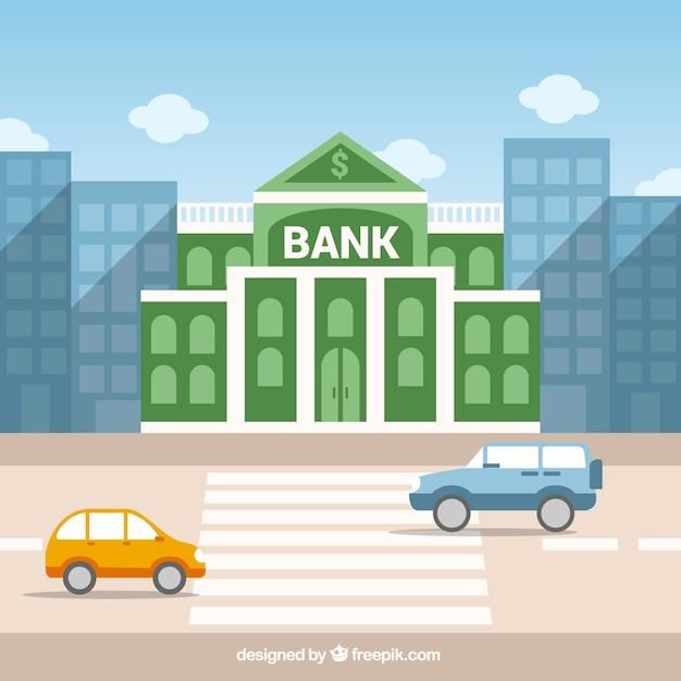 Bâtiment de la banque verte Vecteur gratuit