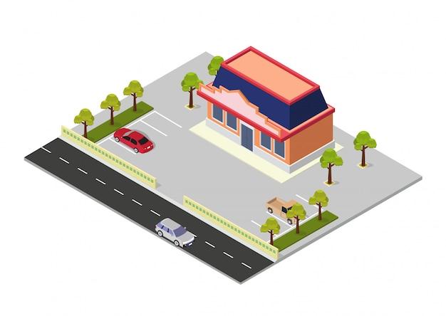 Bâtiment De Centre Commercial Isométrique De Vecteur Vecteur Premium