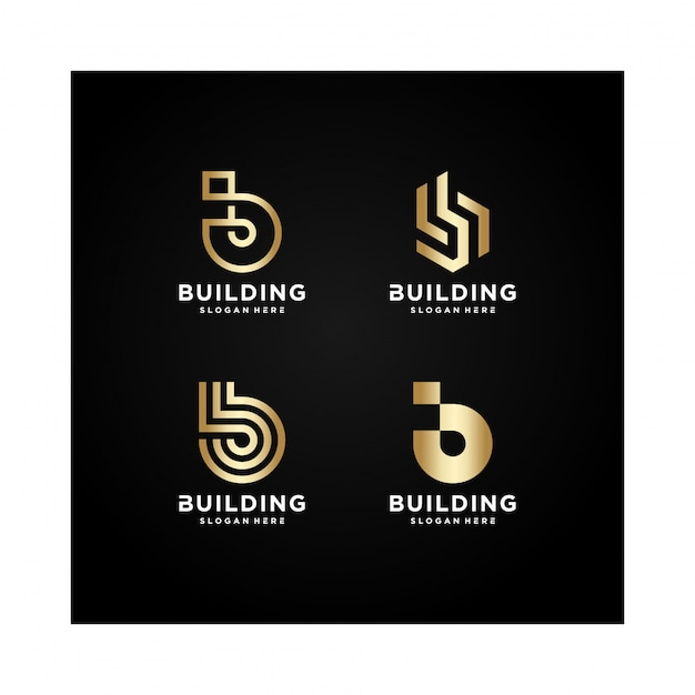 Bâtiment Collection De Logos, Moderne, Concept, Gradient, Immobilier, Vecteur Premium