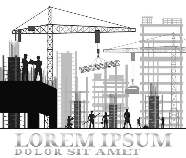 Bâtiment en construction Vecteur Premium