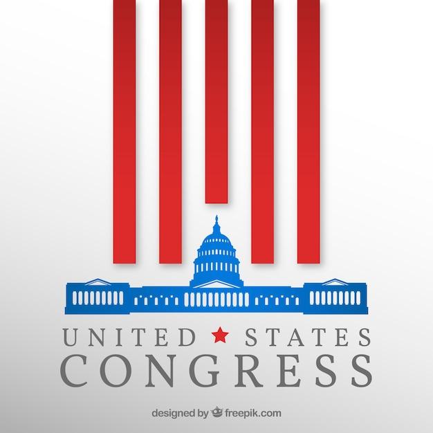 Bâtiment Du Congrès Américain Avec Design Plat Vecteur gratuit