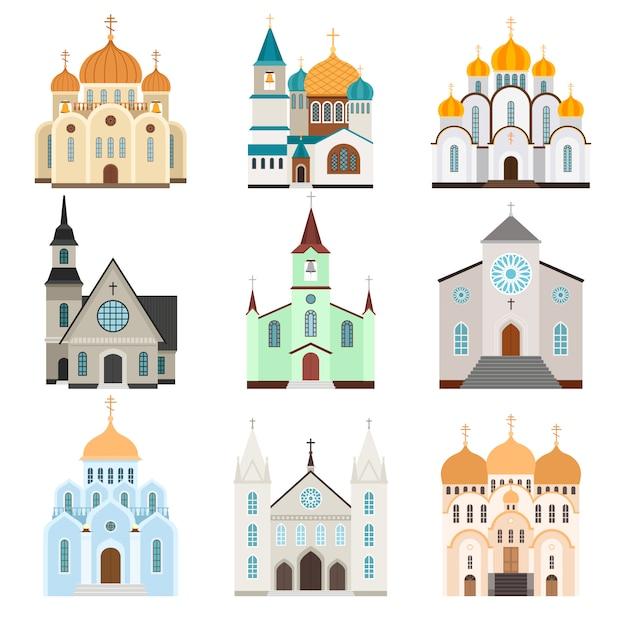 Bâtiment Du Sanctuaire. Style Plat Basilique Et église Chrétienne, Illustration Vectorielle Vecteur Premium