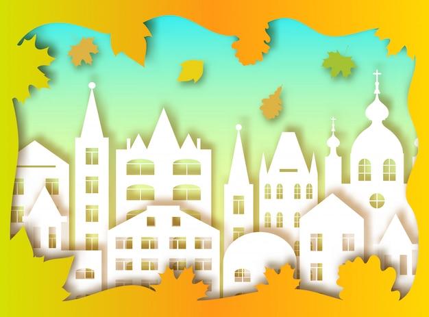 Bâtiment de la grande ville et des feuilles d'automne. illustration vectorielle style d'art de papier Vecteur Premium