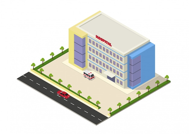 Bâtiment d'hôpital isométrique Vecteur Premium