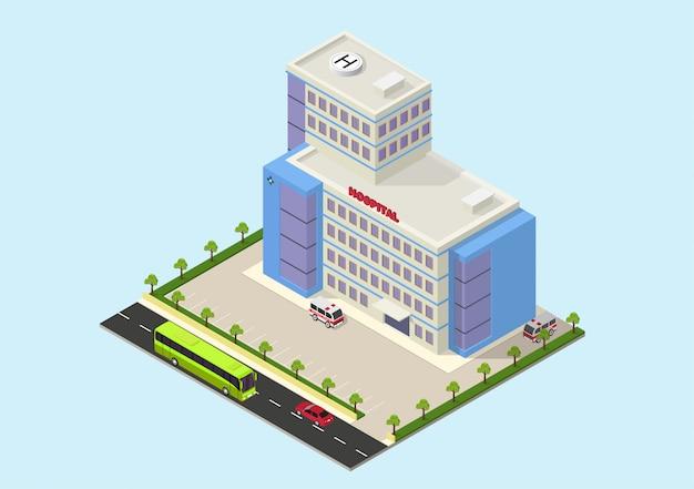 Bâtiment d'hôpital moderne isométrique Vecteur Premium