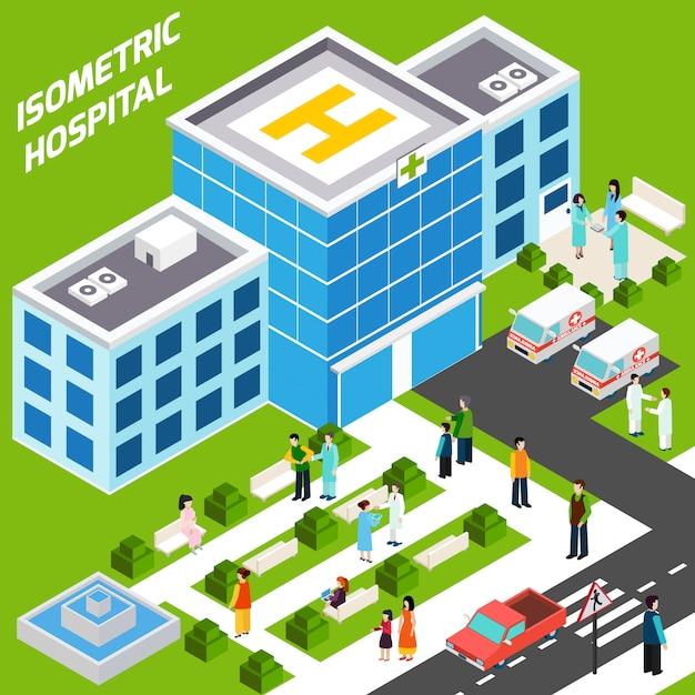 Bâtiment hospitalier isométrique Vecteur gratuit