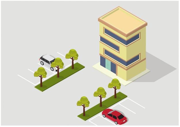Bâtiment Hôtelier, Appartement Ou Gratte-ciel Isométrique Vectoriel Vecteur Premium