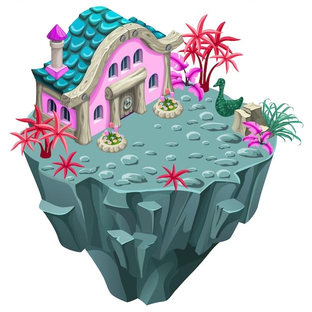 Bâtiment isométrique sur l'île. Vecteur Premium