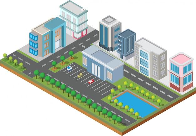 Bâtiment Isométrique. Ils Sont Sur La Cour Avec La Route Et Les Arbres.smart Ville Et Parc Public Vecteur Premium