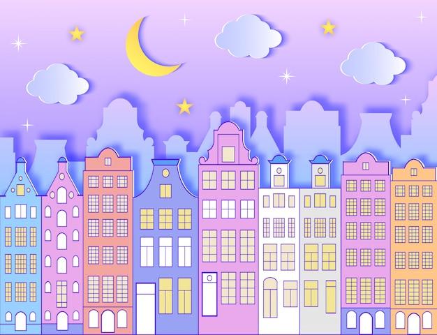 Bâtiment, lune, étoiles et nuages. Vecteur Premium