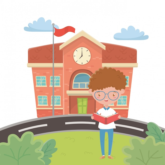 Bâtiment scolaire et dessin animé garçon Vecteur gratuit