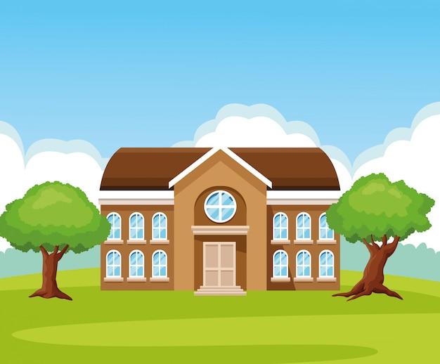 Bâtiment scolaire en dessin animé nature Vecteur gratuit