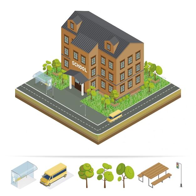 Bâtiment scolaire. école moderne. scène urbaine. bus scolaire. façade de l'école Vecteur Premium