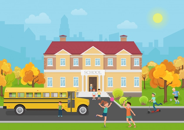 Bâtiment scolaire avec des enfants dans la cour Vecteur Premium