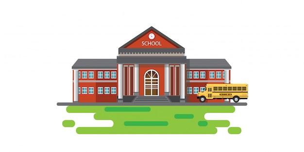 Bâtiment scolaire moderne avec autobus scolaire. Vecteur Premium