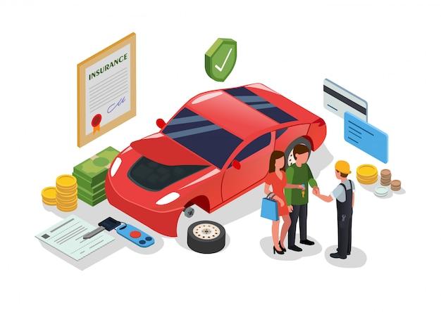 Bâtiment de service et de réparation automobile ou garage plat. Vecteur Premium