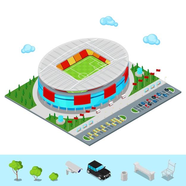 Bâtiment De Stade De Football De Football Isométrique Avec Parc Et Aire De Stationnement Pour Les Voitures. Vecteur Premium