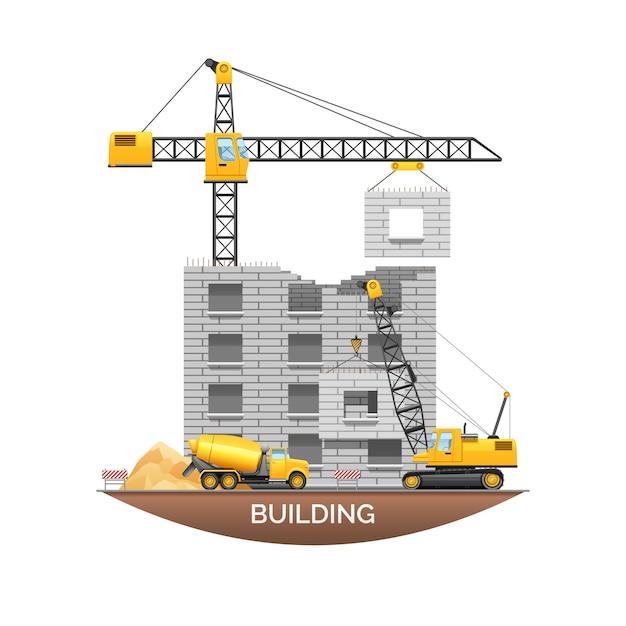 Bâtiment urbain en construction Vecteur gratuit