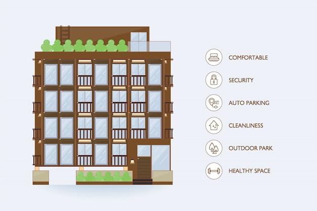 Bâtiment Urbain Vecteur Plat Et Installations Icon Pour Copropriété. Vecteur Premium
