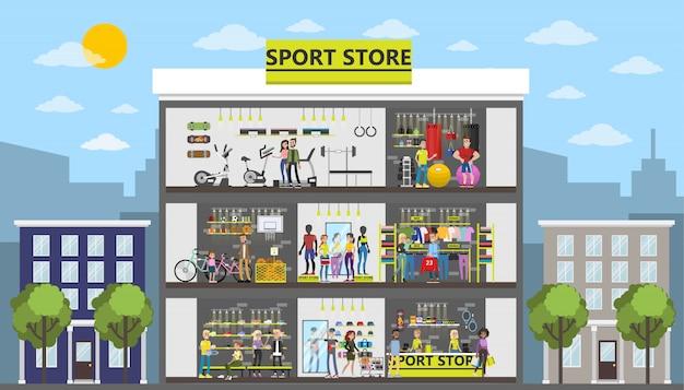 Bâtiment De La Ville De Magasin De Sport Avec Des Clients Et Des équipements. Vecteur Premium