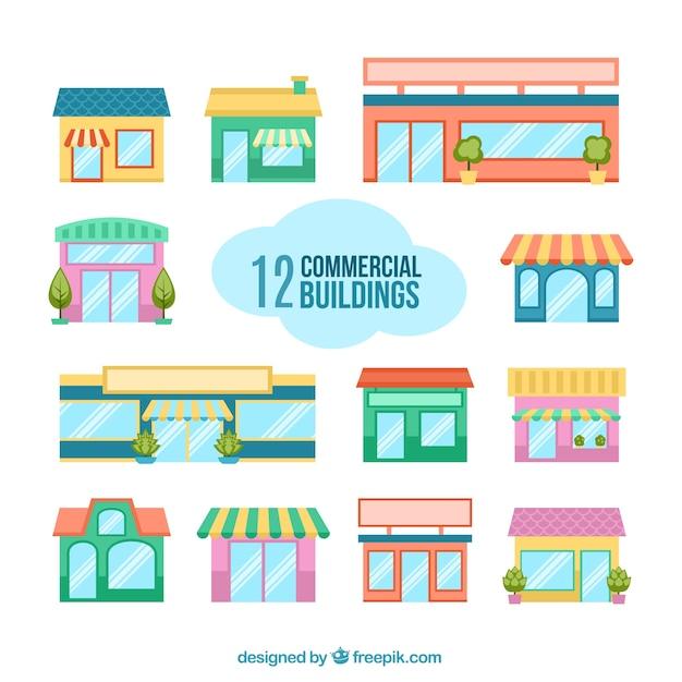 Bâtiments commerciaux Vecteur gratuit