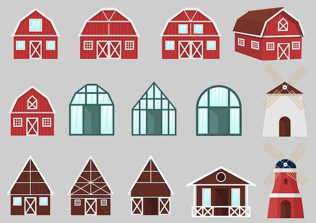 Bâtiments et constructions de ferme vector ensemble Vecteur Premium