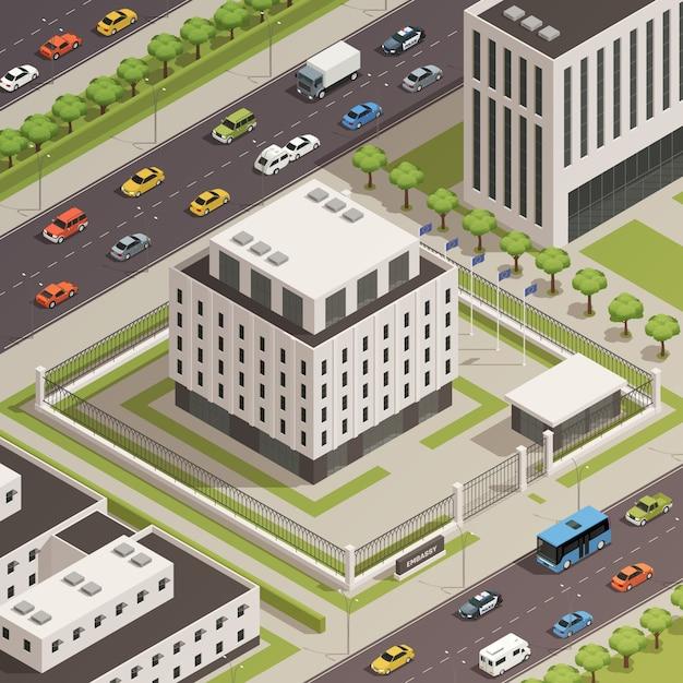 Bâtiments du gouvernement de la ville isométrique Vecteur gratuit