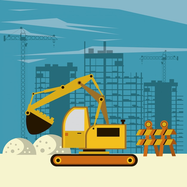 Bâtiments et machines en construction Vecteur Premium