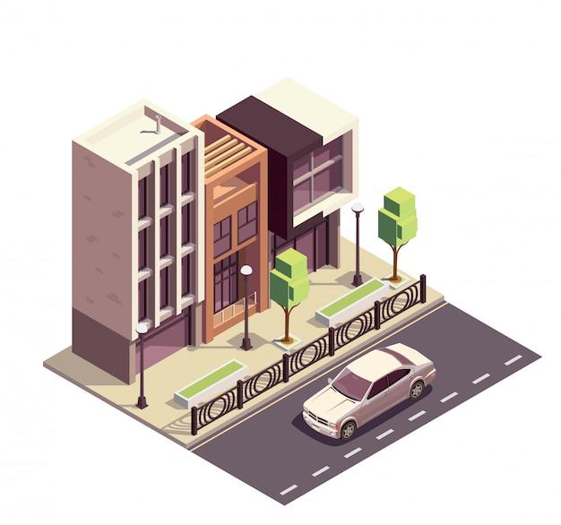 Bâtiments De Maison De Ville Composition Isométrique Avec Rangée De Trottoirs De Maisons Modernes Et Autoroute Avec Paysage De Rue Vecteur gratuit