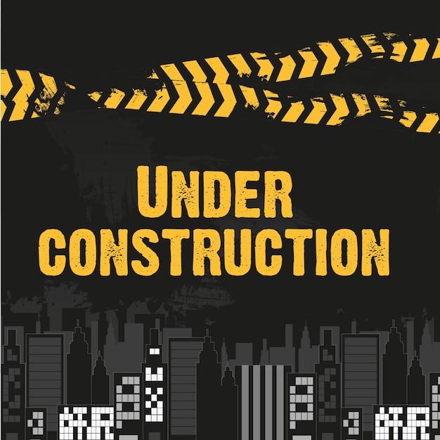 Bâtiments avec ruban jaune et noir Vecteur Premium