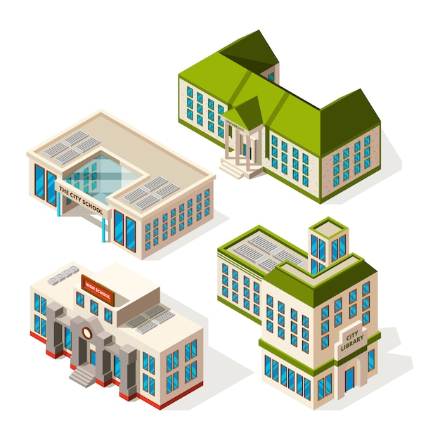 Bâtiments scolaires. bâtiments isométriques 3d école ou institut Vecteur Premium