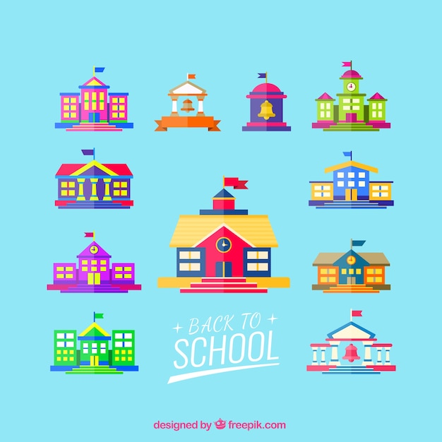 Les bâtiments scolaires Vecteur gratuit