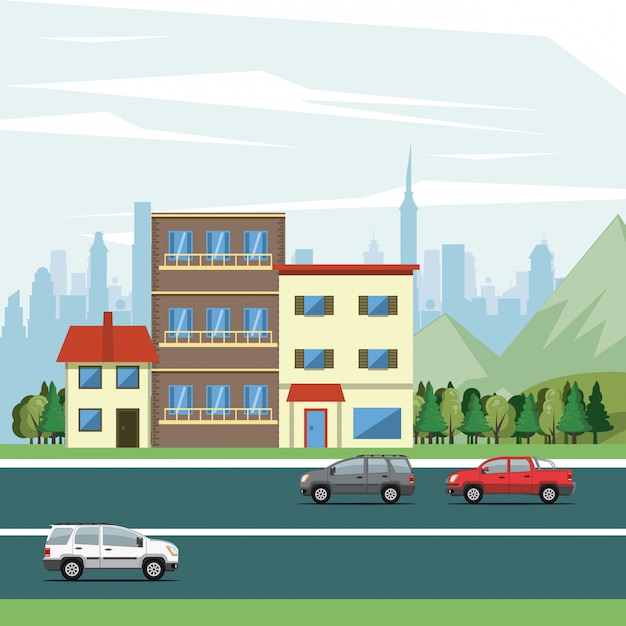 Bâtiments urbains avec paysage urbain Vecteur gratuit