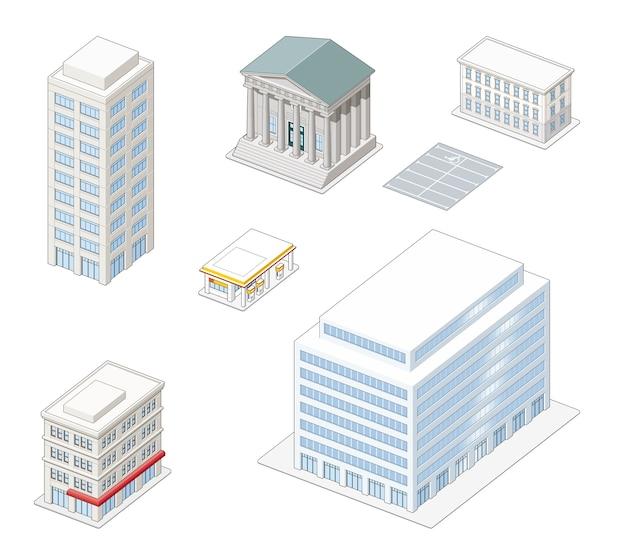 Bâtiments de la ville isométrique Vecteur Premium
