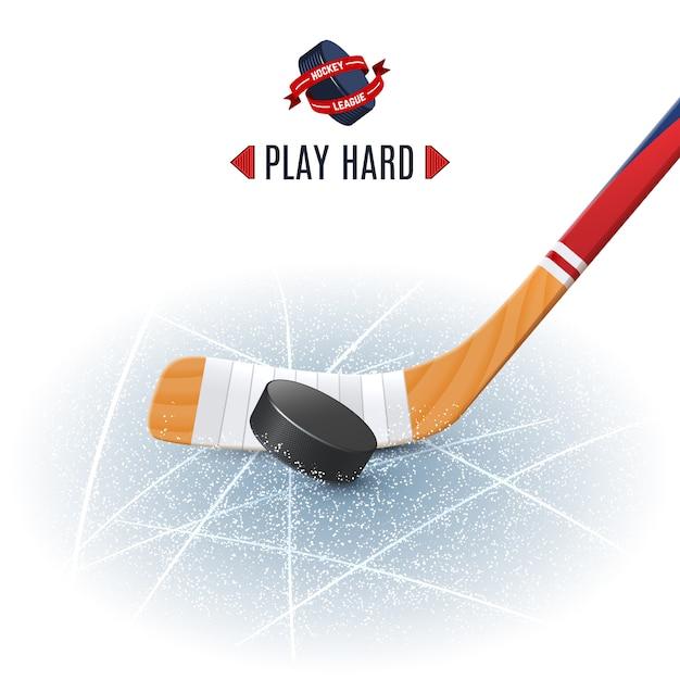 Bâton de hockey et rondelle Vecteur gratuit