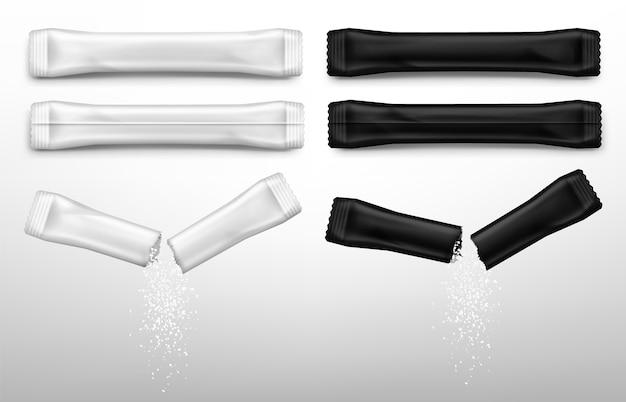 Bâtonnets De Sucre Pour Café En Packs Blancs Et Noirs. Vecteur gratuit