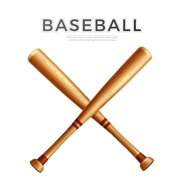 Batte De Baseball Croisée Réaliste. Des Bâtons De Bois Vecteur Premium