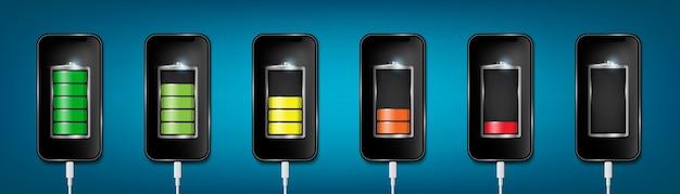 Batterie chargée, téléphone portable, câble usb. Vecteur Premium