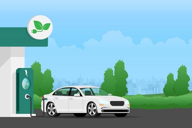 Batterie de chargement de voiture électrique. Vecteur Premium