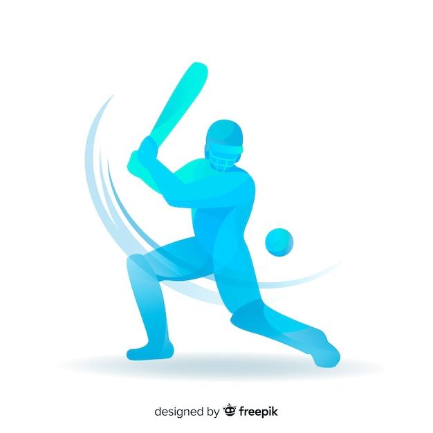 Batteur bleu jouant au cricket Vecteur gratuit