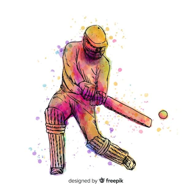 Batteur coloré jouant au cricket dans un style aquarelle Vecteur gratuit