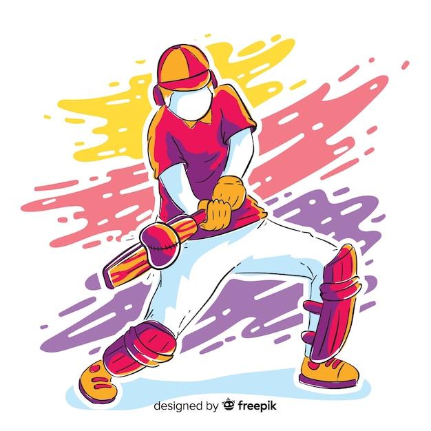 Batteur coloré jouant au cricket Vecteur gratuit