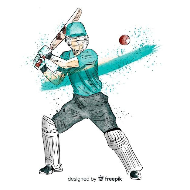 Batteur jouant au cricket dans un style aquarelle Vecteur gratuit
