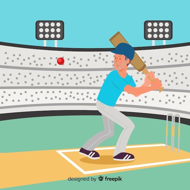 Batteur, jouer, cricket, dans, stade Vecteur gratuit