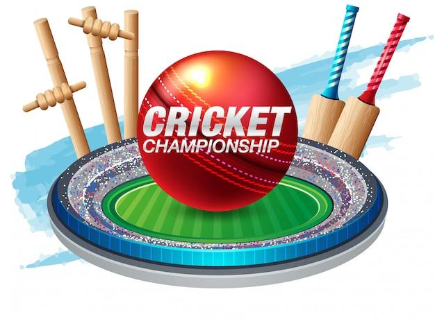 Batteur et quilleur jouant au cricket sports de championnat Vecteur Premium
