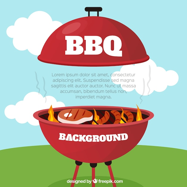 Bbq fond avec de la nourriture délicieuse Vecteur gratuit
